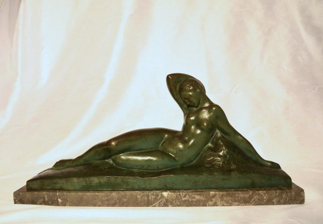 Amedeo Genarrelli (1881-1941) - Art Deco bronze nude on a marble plate