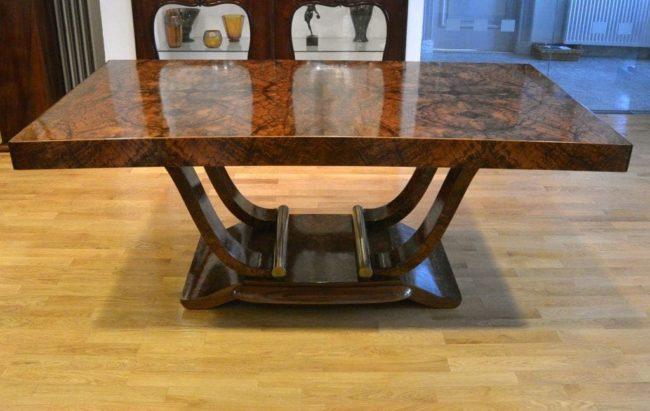 Art deco dining table with 6 art deco chairs (c)