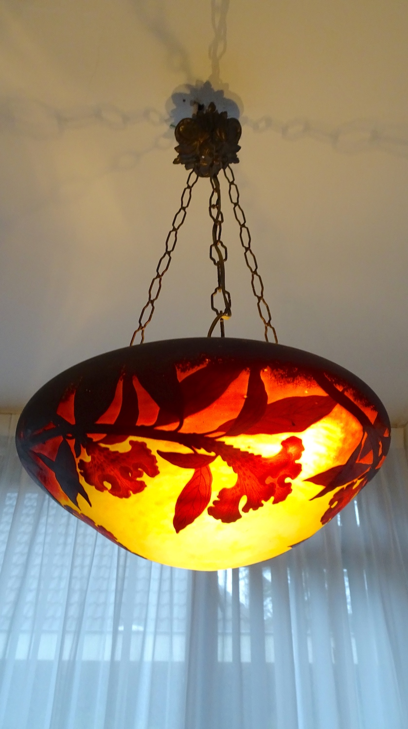Art Nouveau hanging lamp with etched glass