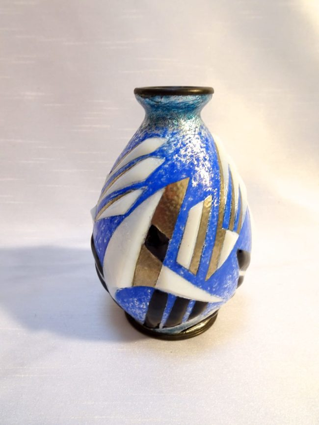 Camille Fauré - Art Deco enameled vase with geometric decoration