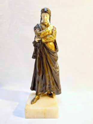 Dominique Alonzo - A gilded and cold patinated bronze statue of the famous poet Dante