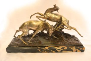 Georges Lavroff - Bronze figure of two dancing deer