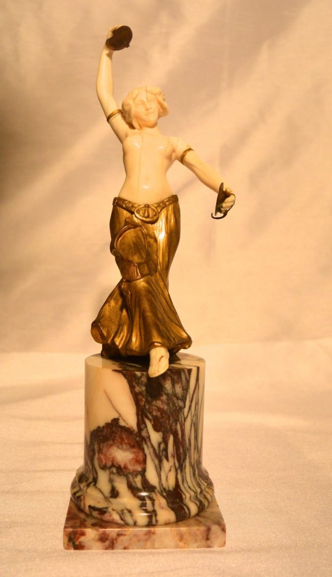 Louis Sosson - Ivory and gilt bronze figure of a dancer