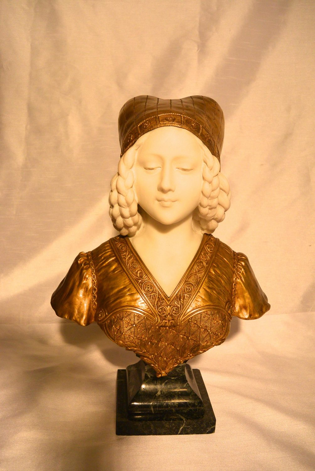 Marble and gilt bronze bust by Affortunato Gory